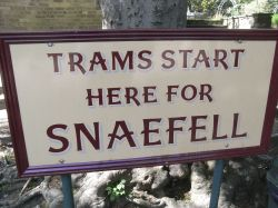 Waiting to go to Snaefell on the mountain railway, Isle of Man