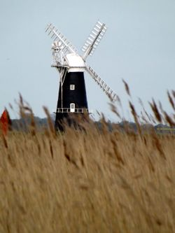 Breydon water and Berney Arms Mill, Burgh Castle, Norfolk