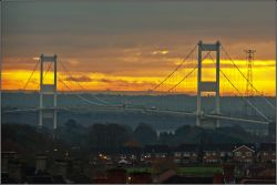 Sunrise and Severn Bridge, Chepstow.