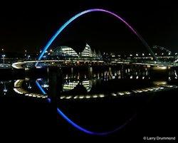 Millennium Bridge at Night, Newcastle - upon - Tyne