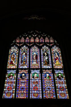 Stained glass window in Lincoln Cathedral