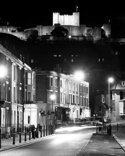 Dover Castle at Night from Castle Street B&W