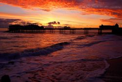 Cromer pier in norfolk at sunrise