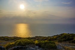 Setting sun over the sea from Mynydd Mawr near Aberdaron
