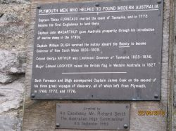 Historical plaque with the names of  Plymouth men who were founders of Australia.
