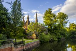 Lichfield Cathedral from Minster Pool.