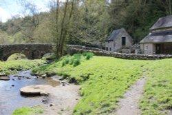 Picturesque  stone bridge at Milldale  village - Dove Dale