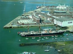 HMS Warrior seen from Spinnaker Tower 19-7-13