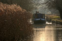 A Narrowboat on the Oxford Canal near Upper Heyford, Oxfordshire