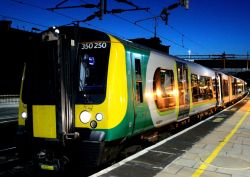 Night Photo of London Midland Trains Class 350 250 Electric Train