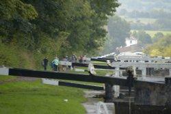 Caen Lock Flight on the Kennet & Avon Canal, Devizes, Wiltshire