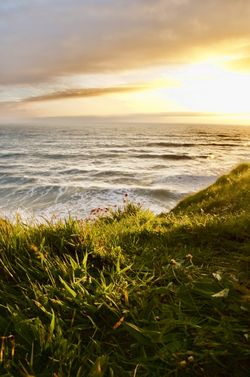 View over Sandymouth,Bude, Cornwall at Sunset
