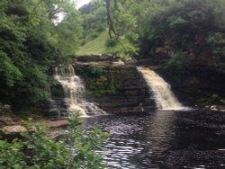 Crammel Linn waterfall on Spadeadam land near to Gilsland Spa