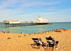 Quintessential deckchairs on Eastbourne beach