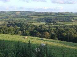 View across the Vale of Taunton Deane from Timewell in Devon.