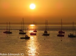Boats in the setting sun at Yarmouth, Isle of Wight