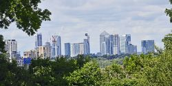 Canary Wharf London from Eltham Palace Garden