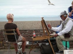 Caricature artist on Minehead seafront