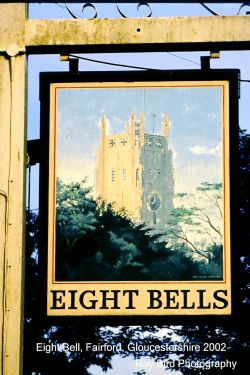 Eight Bells Pub Sign, Fairford, Gloucestershire 2002
