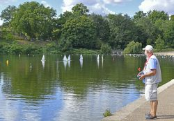 Model boats at Mote Park, Maidstone