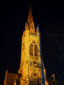 The spire of St. John the Evaangelist at night, Bath