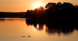 Sunset over Bewl Water near Wadhurst. East Sussex