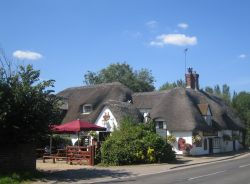The picturesque Barley Mow pub in Clifton Hampden