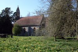 St. Mary's Church, Pyrton, with spring daffodils in the churchyard