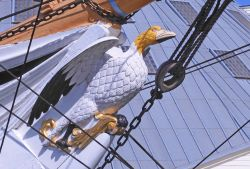 The figurehead of HMS Gannet at Chatham Historic Dockyard