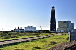The Old Lighthouse & the Circular Lightkeeper's House Next to Dungeness Nuclear Power Station in Kent.