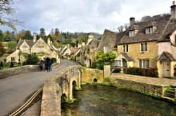 View Up The Street from the Bridge Over By Brook in Castle Combe