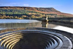 Ladybower's Western Bellmouth Drain (Plughole) with Bamford Edge Above