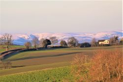 Looking towards the long Mynd from near Aston on Clun.