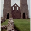 The twin towers of the Reculver church (12th century) and remains of the Roman fort.
