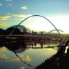 Newcastle upon Tyne. Millenium Bridge with The Sage in the background