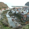 The classic postcard view of Staithes, North Yorkshire.