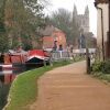 Newbury, Berkshire. Kennet and Avon Canal, with St. Nicolas Church in background.
