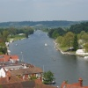 Henley on Thames. View downstream from tower of St. Mary's church