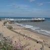 The beach front at Cromer, with Cromer pier in the background, Norfolk