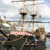 Replica of Sir Francis Drake's ship, The Golden Hind, in Brixham harbour.