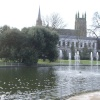 Jephson Gardens (foreground) and All Saints Church (background), Leamington Spa, Warwickshire