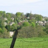 The beautiful village of Bisley from a distance. In the Cotswolds