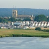 Christchurch Priory, looking from Hengistbury Head, Dorset