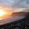Scarborough, North Yorks. The Castle from the North Bay side. Sunrise one fine day in June 2004. -