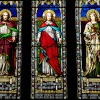 Stained glass windows, St Helen's Church, Abingdon, Oxfordshire. -