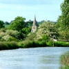 Little Bedwyn (Wiltshire) church seen from the Kennet and Avon Canal - (May 2005)