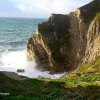 Dorset, Lulworth Cove, Stair Hole seas breaking in high wind