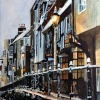 Painting of Early morning snow in the High Street of Hastings old town just outside The FILO pub.