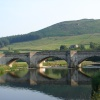 Burnsall bridge, shadows of bridge in the river Wharfe