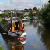 Narrow boats on the canal at Hest Bank, Lancashire.